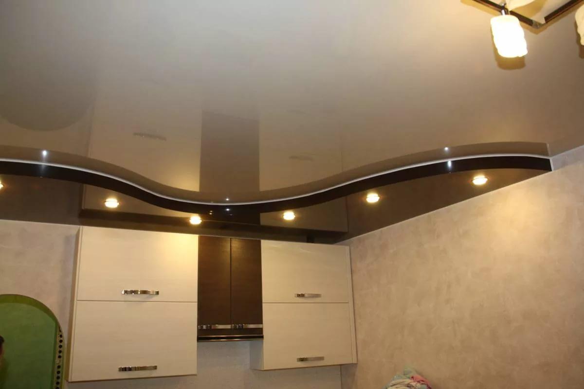 дизайн натяжных двухъярусных потолков фото эти